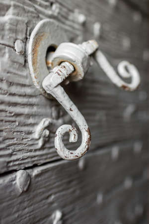 Extreme close-up of a rusty knocker on an old door. photo
