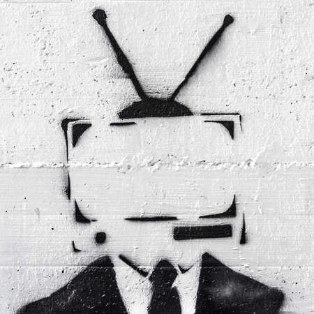A representation of the mind control of the media on people. Banque d'images