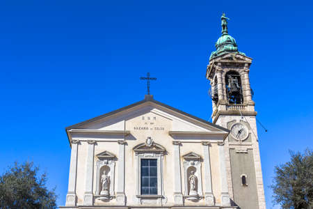 Architectural detail of the side facade of an Italian church. photo