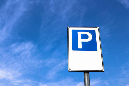 free space: Signal public parking seen from below. Stock Photo