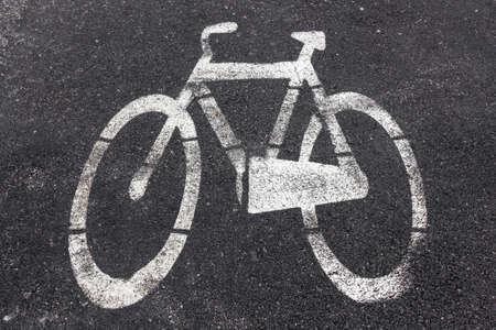 imprinted: Symbol of bike path imprinted on the asphalt