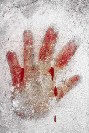 An imprint of bloody hand on a white wall. photo