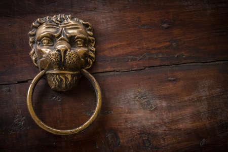 doorknocker: An old knocker in the shape of lion on an old door.