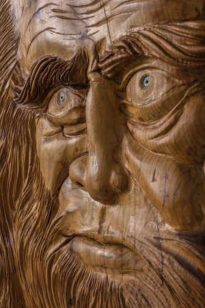 leonardo davinci: Carving in wood, with warm colors and soft, of Leonardo Da Vinci.