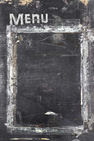 Menu blackboard with grunge style, scratched and ruined.
