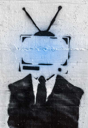 disinformation: Conceptual representation of the mind control on people by media.