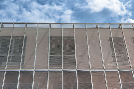 characterized: Contemporary architecture characterized by materials rusty and steel panels. Stock Photo