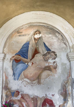 golgotha: A fresco depicting the Virgin Mary holding the dead Christ.