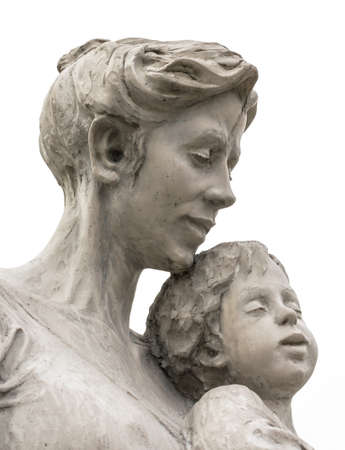 mary and jesus: A marble statue of a mother and son, isolated on white background.
