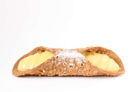 Italian culinary baking sweet dessert Cannoli Sicilian closeup