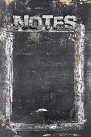 ruined: Blackboard in grunge style, scratched and ruined, for notes.