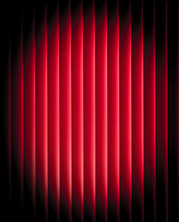 night club interior: Lighting stage with red curtain. Simple, minimalist style.