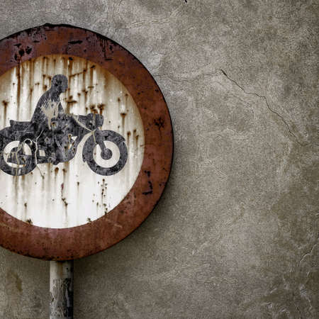 obligatory: Road sign ban for motorcycles, rusted from the elements.