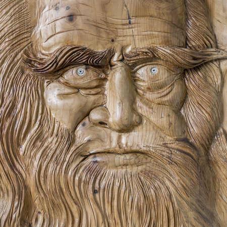 leonardo davinci: Close up of the face of Leonardo da Vinci, carved on a wooden board.