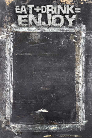 ruined: Menu blackboard with grunge style, scratched and ruined.