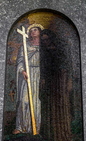 sinful: An italian mosaic in an old church showing Jesus Christ with a sinful.