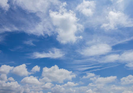 forecasts: Fluffy cloudy above summer sky background Stock Photo