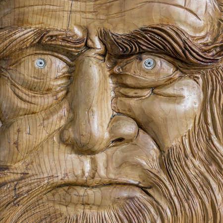 da: Portrait of Leonardo da Vinci carved in wood Stock Photo