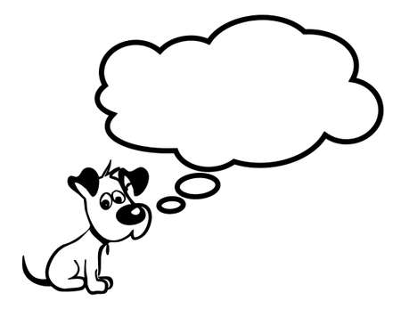 Vector image of sad puppy with cloud fully editable. It can be used as a poster, wallpaper, design t-shirts and more.