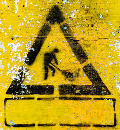 Under construction symbols grunge style with yellow background. It can be used as a poster, wallpaper, design t-shirts. Fully editable.