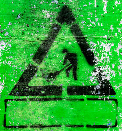 peeled: Under construction symbols grunge style with green background. It can be used as a poster, wallpaper, design t-shirts. Fully editable. Stock Photo