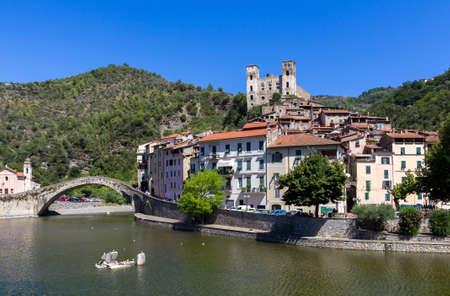 Dolceacqua, Imperia. Liguria (ITALY). The Monets Bridge on the River Nervia. On the hill is located the Dorias castle.