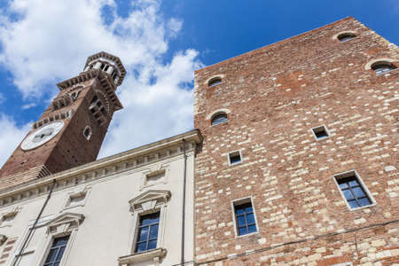 Verona, Northern Italy. Lamberti Tower (Torre dei Lamberti). Popular touristic european destination. Verona city view. Stock Photo