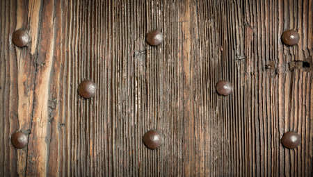 Vintage wooden texture with metal rivets, wood texture for background.
