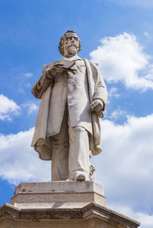 VERONA, ITALY - May 25, 2017: Monument of Aleardo Aleardi, poet, politician and patriot of the italian Risorgimento, belonging to the current of romanticism, a movement in the arts and literature that originated in the late 18th century, emphasizing inspi Editorial