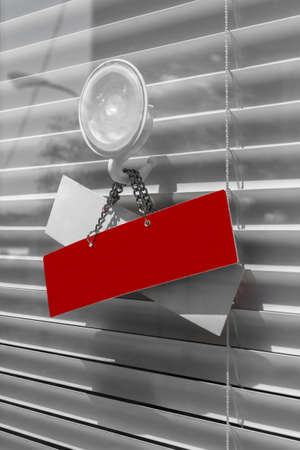 Red cartel on a door with copy space