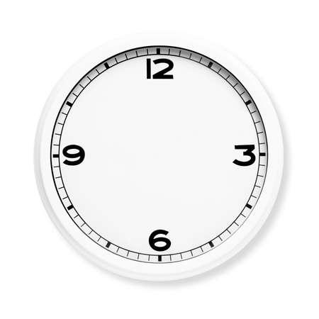 흰색 배경에 고립 된 손없이 시계 얼굴. 스톡 콘텐츠