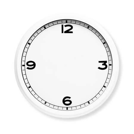 Clock face without the hands isolated on white background.