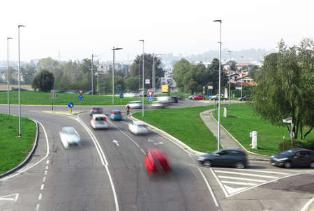 Car traffic around the roundabout
