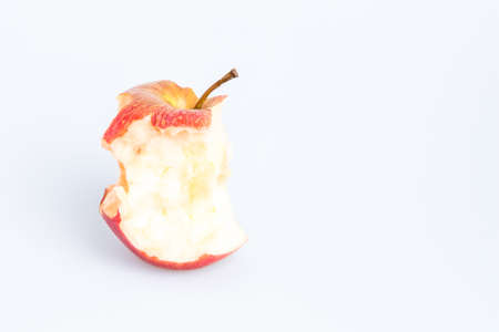 Red Delicious Apple on White Background. Bitten apple. Banque d'images