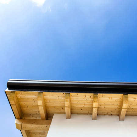 Part of roof with wood rafters and planks. Italian house. Stock Photo
