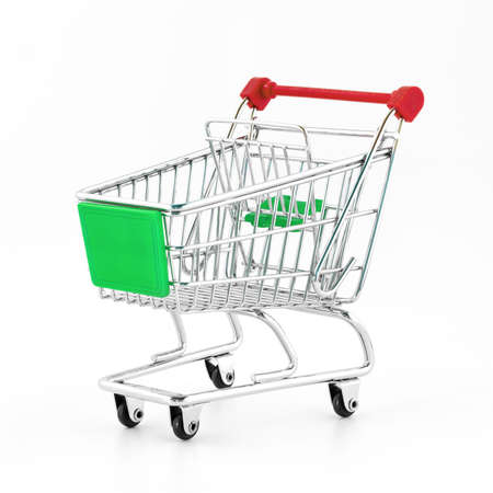 Italian shopping cart isolated on white background. Concept of crisis, purchasing power, taxes, economic difficulties. Stock Photo