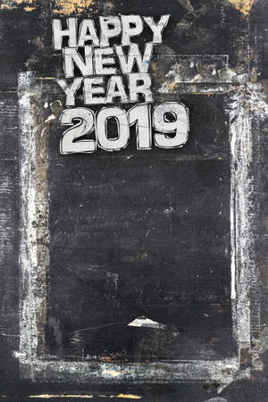 2019 Happy New Year Grunge Background for your flyers, greetings card and dinner menu. Ideal to use for parties invitation, dinner invitation, grungy events and more. Stock Photo