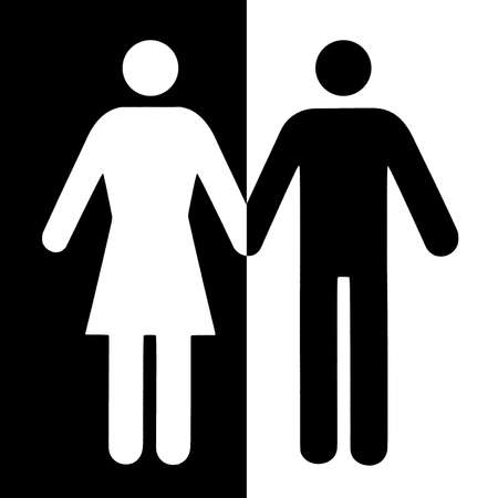Couple and single icon flat, isolated on white. Conceptual representation of refusal, betrayal, choice of a partner.