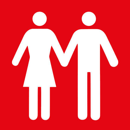 Couple and single icon flat on red background. Conceptual representation of love.