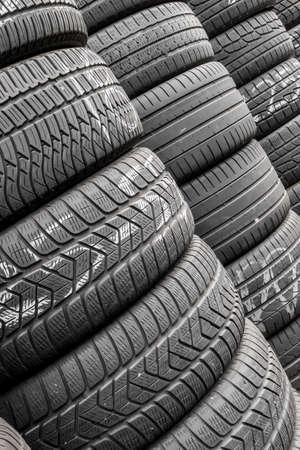 Close up stacks of old used tires for sale Reklamní fotografie