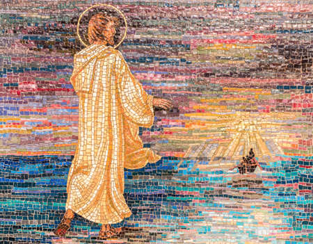 Religious mosaic of Jesus Christ walking on the river waters. From a distance a boat.The painting is multicolored. It can be used for backgrounds or concepts.