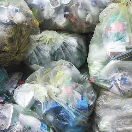 Close up of yellow garbage bags. Stock fotó