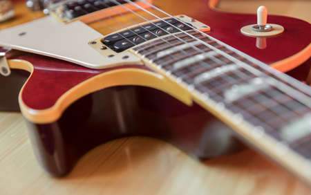 Detail of a electric guitar. Vintage style. Selective focus.