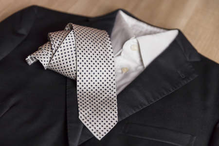 Jacket and tie detail. concept of Italian tailoring. Quality, style, made in Italy. Stock Photo