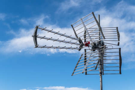 Directional antenna for reception of digital television broadcasting DVB-T and DVB-T2 against a blue sky