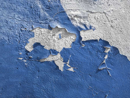 Blue wall with the peeled-off paint. It can be used as background.