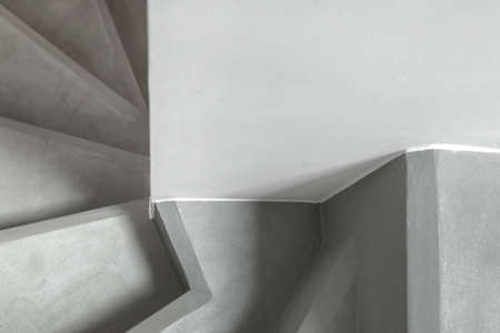 Concrete stairs. Top view of modern architecture detail.