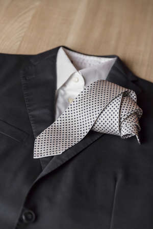 Jacket and tie detail. concept of Italian tailoring. Quality, style, made in Italy. Stock fotó