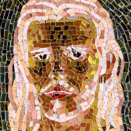 Jesus in a recent mosaic made with ancient techniques. Stok Fotoğraf