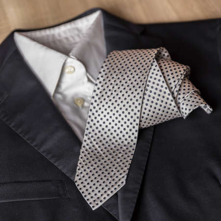 Jacket and tie detail. concept of Italian tailoring. Quality, style, made in Italy. Reklamní fotografie